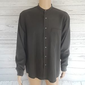 ALFANI: Banded Collar Button Down Shirt